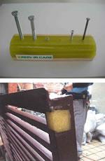 (上画像)硬化後は釘やビスの使用やカンナがけやドリル加工が可能です。(下画像)優れた接着強度と弾性力で木、金属、コンクリートの動きに追従します。
