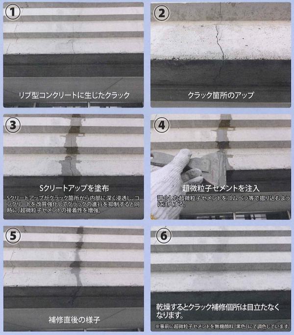 Sクリートクラック工法(クラック・表面被覆工法)(株)バークス環境